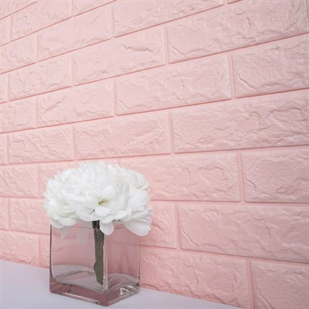 58 Sq. Ft Blush Pink 3D Faux Foam Bricks Self-adhesive Waterproof Art Wall Panel -  Pack of 10