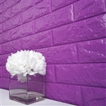 58 Sq. Ft Purple 3D Faux Foam Bricks Self-adhesive Waterproof Art Wall Panel -  Pack of 10