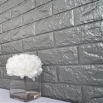 58 Sq. Ft Silver 3D Faux Foam Bricks Self-adhesive Waterproof Art Wall Panel -  Pack of 10
