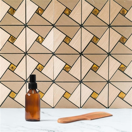 10 Sq. Ft Copper Metal Wall Tiles Peel and Stick Backsplash Rhinestone Studded 3D Wall Panels - 10 Pack