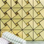 10 Sq. Ft Gold Metal Wall Tiles Peel and Stick Backsplash Rhinestone Studded 3D Wall Panels - 10 Pack