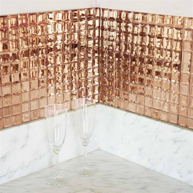 Wholesale 12 X12 Rose Gold Mirror Wall Tiles Glass Mosaic