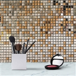 "12""x12"" Rose Gold Backsplash Peel and Stick Colored Glass Mosaic Mirror Wall Tiles - 10 Pack"