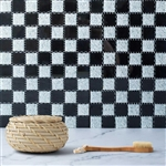 "12""x12"" Black & White Backsplash Peel and Stick Colored Glass Mosaic Mirror Wall Tiles - 10 Pack"