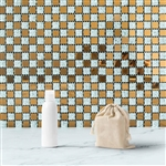 "12""x12"" Gold & Silver Backsplash Peel and Stick Colored Glass Mosaic Mirror Wall Tiles - 10 Pack"