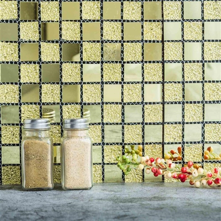 "12""x12"" Gold Backsplash Peel and Stick Colored Glass Mosaic Mirror Wall Tiles - 10 Pack"