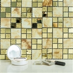 "12""x12"" Gold Backsplash Peel and Stick Marble Glass Mosaic Mirror Wall Tiles - 10 Pack"