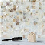 "12""x12"" Peel & Stick Natural Real Sea Shell Mosaic Wall Tiles - 5 Pack"