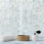 "12""x12"" Peel & Stick White Real Sea Shell Mosaic Wall Tiles - 5 Pack"