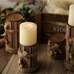"Wooden Pillar Candle Holders with Burlap Ribbons and Hanging Stars - 8""/7""/5""/4"" - Set of 4"