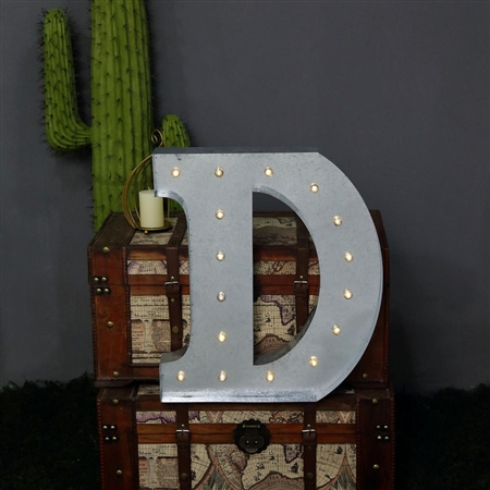2 FT Vintage Metal Marquee Letter Lights Cordless With 16 Warm White LED - D