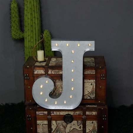 2 FT Vintage Metal Marquee Letter Lights Cordless With 16 Warm White LED - J