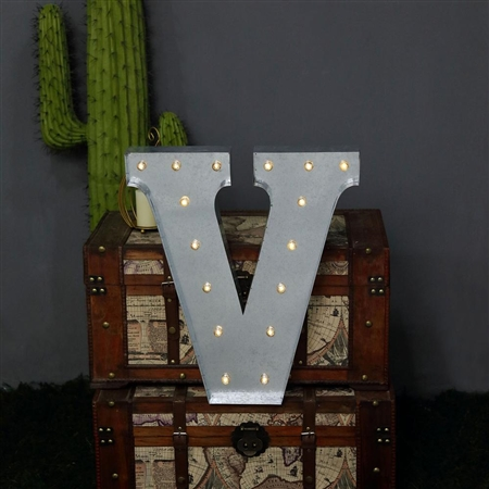 2 FT Vintage Metal Marquee Letter Lights Cordless With 16 Warm White LED - V