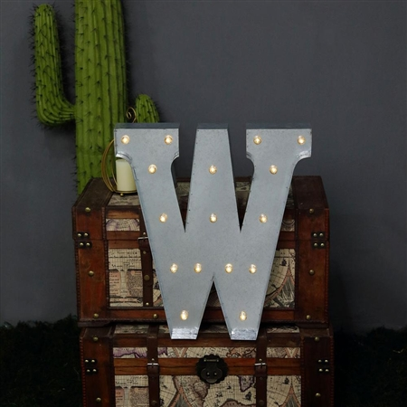 2 FT Vintage Metal Marquee Letter Lights Cordless With 16 Warm White LED - W
