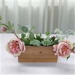 10x5'' Natural Rectangular Wood Planter Box Set With Removable Plastic Liners - 4 Pack