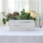 10x5'' Whitewash Rectangular Wood Planter Box Set With Removable Plastic Liners - 4 Pack
