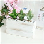 11x6'' Whitewash Rectangular Wood Planter Box Set With Removable Plastic Liners - 4 Pack