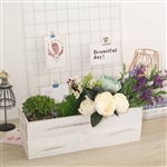 "18""x6"" Whitewash Rectangular Wood Planter Box Set With Removable Plastic Liners"