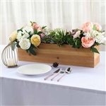 "24""x6"" Natural Rectangular Wood Planter Box Set With Removable Plastic Liners"