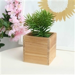 5'' Natural Square Wood Planter Box Set With Removable Plastic Liners - 4 Pack