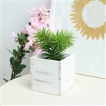 5'' Whitewash Square Wood Planter Box Set With Removable Plastic Liners - 4 Pack