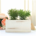 8x4'' Whitewash Rectangular Wood Planter Box Set With Removable Plastic Liners - 4 Pack