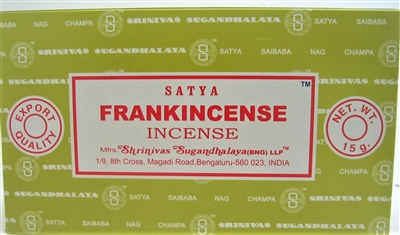 Satya Frankincense 15 gram incense (Dozen, Box of 12 packs of 15 grams each)