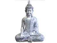 Silver Buddha one hand on knee LARGE Model - 15421-62