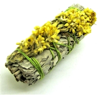 "MIX - White Sage with Yellow Mullein Smudge Sticks 4"" (Single)"