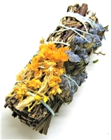 "MIX -  Yerba Santa with Yellow Mullein, and Sinuata Lavender Smudge Sticks 4"" (Single)"