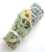 "MIX - White Sage with Sudan Azul, Natural Sinuata and Aqua Sinuata   Smudge Sticks 4"" (Single)"