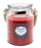 Crystalo Creations 3 in 1, Apple Pie, Cinnamon, Vanilla Scented Candle with Rope Handle, 18 Ounce