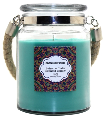Crystalo Creations Balsam & Cedar Scented Candle with Rope Handle, 18 Ounce