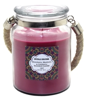 Crystalo Creations Berries 3 in 1, Strawberry, Blueberry, Cranberry Scented Candle with Rope Handle, 18 Ounce
