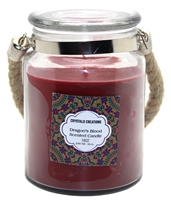 Crystalo Creations Dragon's Blood Scented Candle with Rope Handle, 18 Ounce