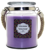 Crystalo Creations French Lavender Scented Candle with Rope Handle, 18 Ounce