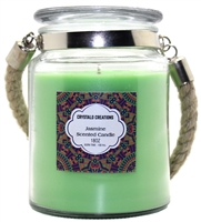 Crystalo Creations Jasmine Scented Candle with Rope Handle, 18 Ounce