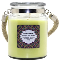 Crystalo Creations Nuts 3 in 1, Banana Nut Bread, Hazelnut, Almond Scented Candle with Rope Handle, 18 Ounce