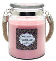 Crystalo Creations Strawberry Vanilla Scented Candle with Rope Handle, 18 Ounce