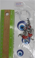 "Evil Eye 2 red roosters Pendant/Charm 4"" Model EE0056"