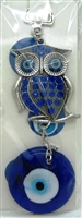 "Owl with Blue Rhinestone with Evil Eye Pendant/Charm 5"" Model EE0062"