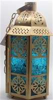 Lantern bottom ball tea light (Gold & Blue) Model F109