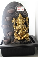Gold Ganesh cascading fountain oval background Model-2050
