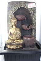 Golden Buddha sitting besides arch w/ cascading water Model -2056