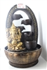 Golden Buddha fountain w/ arch cascading water Model-2091