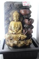 Gold Buddha cascading fountain w/ swirl background Model-2094