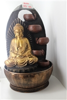 Golden Buddha cascading fountain w/ oval lined background Model-3097