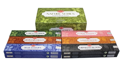 Hem Nature Series Premium Incense - 12 Packs of 15 Gram Each - With Six Different Scents - Blue Champa, Forest Flower, Floral Bouquet, Sandalwood, Midnight Blossom, and Mountain Valley