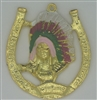 Golden Horseshoe with Indian Head - Amulet