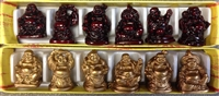 Laughing Buddha 1 Inch Statues (Set of 6 Figurine) - Choose Color